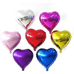 Paquete de 50 pzas 10 Pulgadas en Forma de Corazón dAluminio metálico Color al Azar