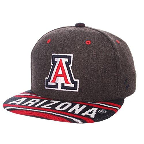 Zephyr NCAA Arizona Wildcats Men's End Zone Snap Snapback Hat, Adjustable, Grey/Team Color