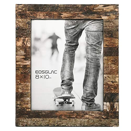Eosglac Rustic 8x10 Wooden Picture Frame, Handcrafted with Real Birch Bark, Easel Back, Natural (Wooden Photo Frames)