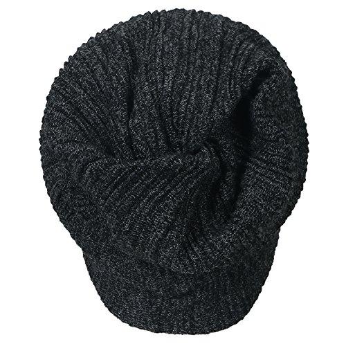 Dark Grey Hat Stripe Beanie ililily Color Wrinkle Neck Solid Cap Snood Skull nqvRPw74