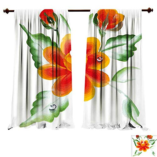 fengruiyanjing-Home Room Darkening Wide Curtains Garden Watercolor Painting of Daffodils with Green Leaves Cute Aquarelle Flora Bouquet Orange Green Decor Curtains (W120 x L107 -Inch 2 Panels)