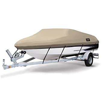 Image result for MSC Heavy Duty 600D Marine Grade Polyester Canvas Trailerable Waterproof Boat Cover,Fits V-Hull,Tri-Hull, Runabout Boat Cover