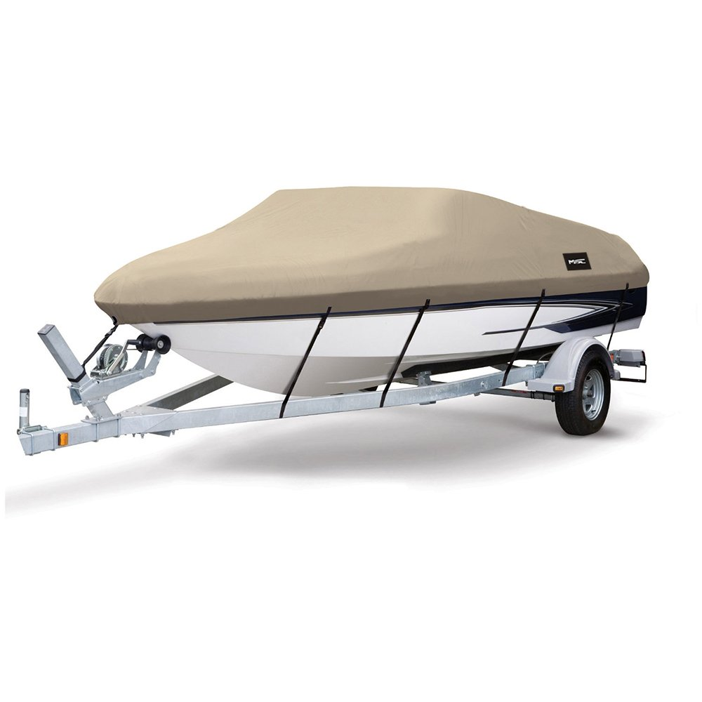 MSC Heavy Duty 600D Marine Grade Polyester Canvas Trailerable Waterproof Boat Cover,Fits V-Hull,Tri-Hull, Runabout Boat Cover (Beige, Model D - Length:17'-19' Beam Width: up to 96'') by MSC (Image #1)