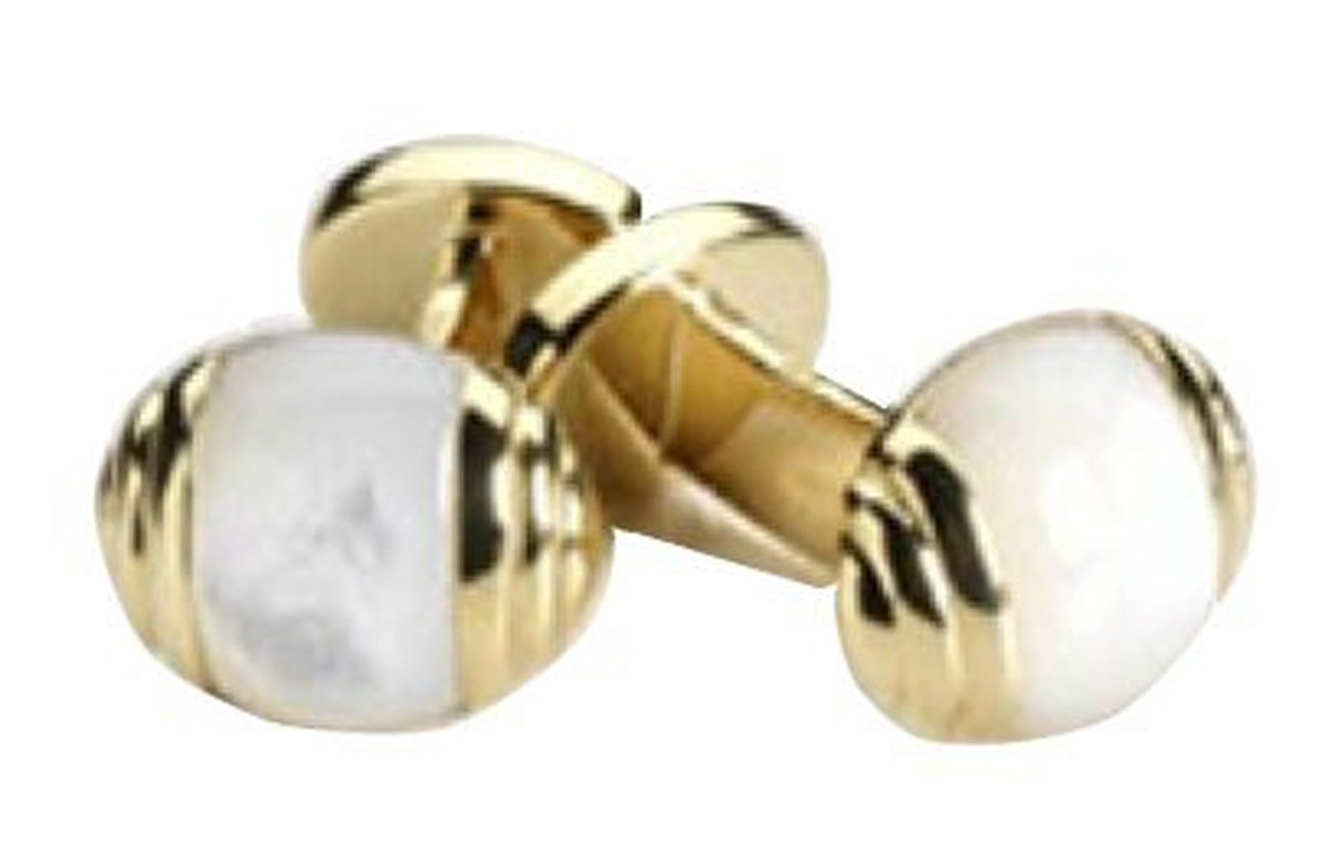 Robert Talbott Classic Split Oval Mother of Pearl Gold Cufflinks