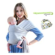 Baby Wrap Carrier - Lightweight Stretchy Breathable Baby Wraps With Bibs And Teethers - Baby Sling - Infant Carrier-Baby Shower Gift (Gray white)