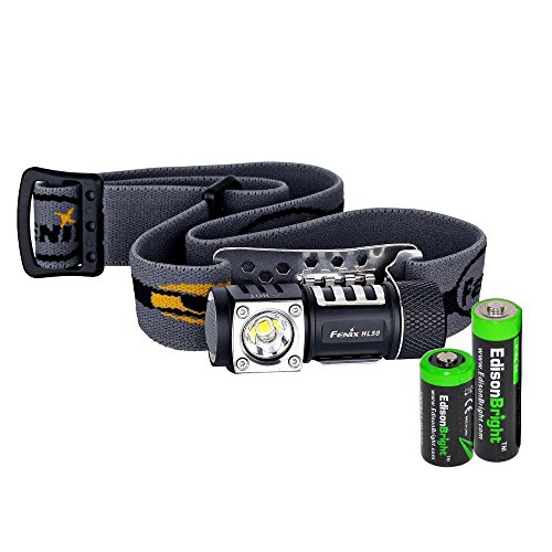 Fenix HL50 365 Lumen light weight LED Headlamp with AA extension tube, EdisonBright CR123A Lithium battery and EdisonBright AA alkaline - Lumen Tube Double