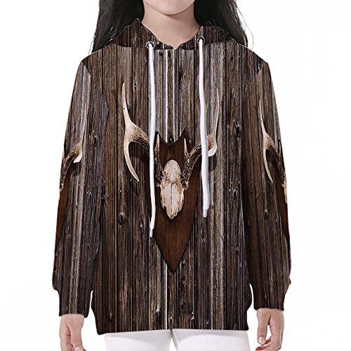Sleeve Hooded Sweatshirts,Antler Decor,Rustic Home Cottage Cabin Wall with Antle