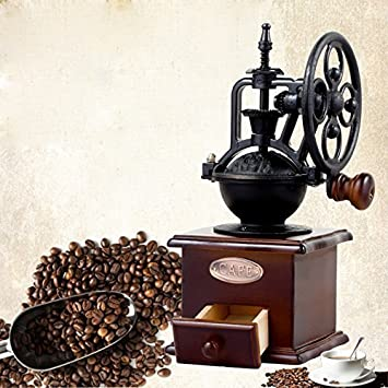 DecentGadget Manual Coffee Grinder Coffee Bean Mill Wooden Hand Grinder Vintage Coffee Machine With Ceramic Grinding Core