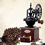 DecentGadget® Manual Coffee Grinder Coffee Bean Mill Wooden Hand Grinder Vintage Coffee Machine With Ceramic Grinding Core