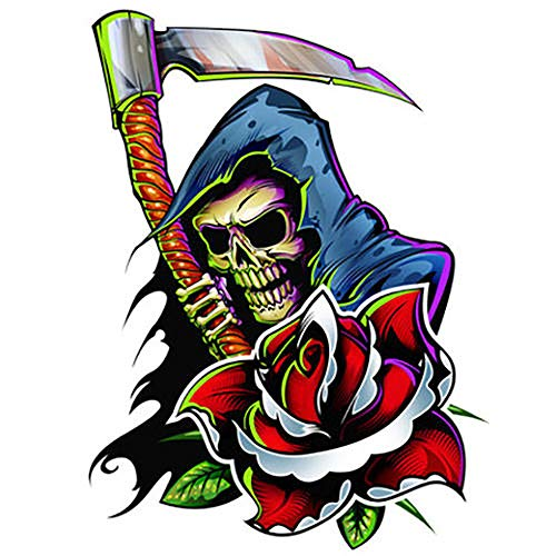 Irvint & Co Body Temporary Tattoo Grim Reaper Skull With Scythe & Rose Style Shiny Laser Foil For Men Women Hands Arms Sleeves Neck Chest Dead Skull Kids Fake Tattoos Stickers (Day Of The Dead Skull Sleeve Tattoo Ideas)