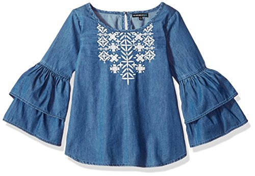 Ruffle Top Denim (My Michelle Big Girls' Denim Top with Ruffle, Light Blue Indigo, S)
