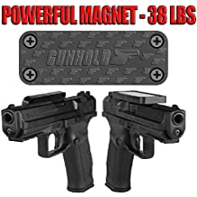 Gun Magnet & Magnetic Gun Mount - Rubber Coated 38 Lbs Rated - Magnetic Car Holder. Suitable for any surface Concealed Holder For Handgun, Rifle, Shotgun, Truck, kitchen, Vault, Desk.