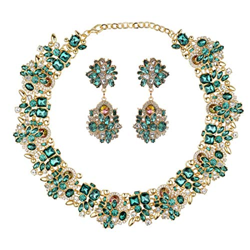 - Mozhuo Green Choker Necklace and Earrings for Women Fashion Novelty Jewelry Set Rhinestone Glass for Wedding Party Casual Daily