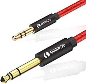 "LinkinPerk 3.5mm to 6.35mm TRS Stereo Audio Cable,6.35 1/4"" Male to 3.5 1/8"" Male Aux Jack for iPod, Laptop,Home Theater Devices, and Amplifiers (5m/15ft)"