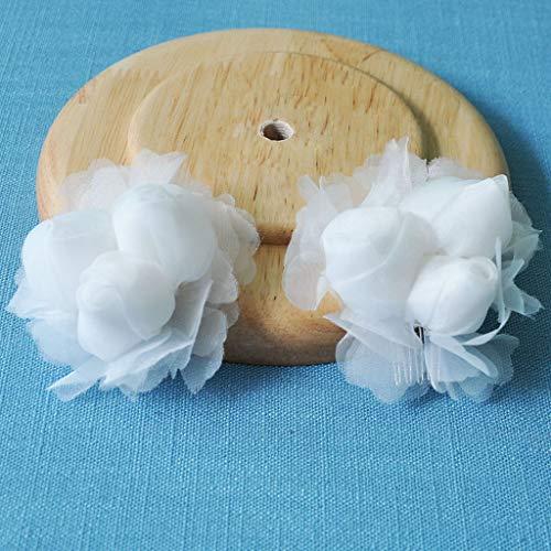 White Organza Flowers Hair Comb Clip Girls Headpiece Wedding Accessories