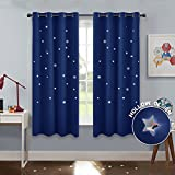 PONY DANCE Navy Stars Curtains - Home Decoration Room Darkening Die Cut Star Blackout Curtain Magical Drapes Grommet Top Kids Nursery Rooms, 52'' Wide 63'' Long, Navy Blue, One Pair