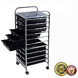 New 10 Drawer Rolling Storage Cart Scrapbook Paper Office School Organizer Black