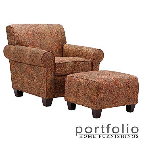 Metro Shop Portfolio Mira 8-way Hand-tied Paisley Arm Chair and Ottoman