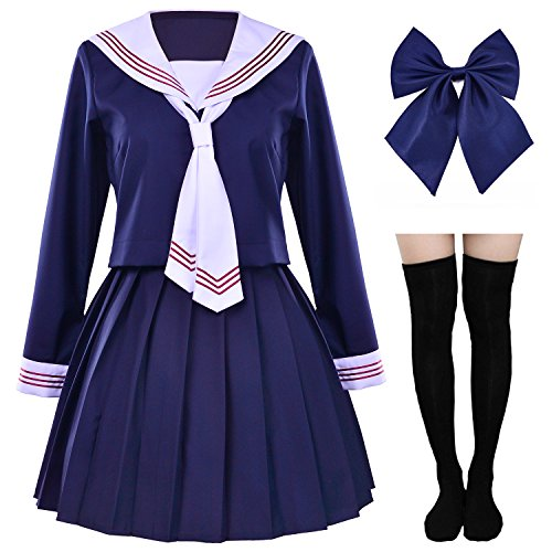 - Japanese Sailor School Uniform Costume Outfits Anime Cosplay Sexy Dress Lolita Suit with Socks Set(XS = Asia S)(SSF04CX)