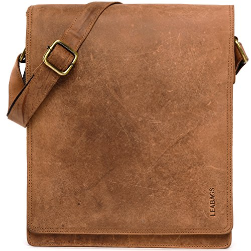 (LEABAGS London messenger bag shoulder bag for 13 inch laptop of genuine leather in vintage style - Brown)