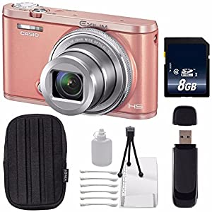 Casio EXILIM EX-ZR5000 12.1MP Digital Camera (Pink) + 8GB SDHC Class 10 Memory Card + SD Card USB Reader + Small Case + Deluxe Starter Kit Bundle