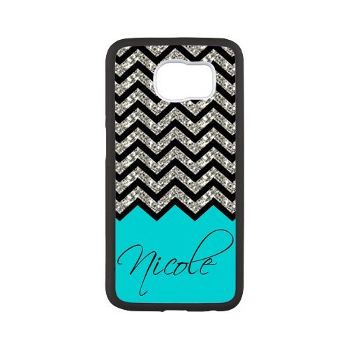 Black Grey Chevron & Turquoise Pattern (NOT ACTUAL GLITTER) Personalized Custom Best Plastic Hard Case for Samsung Galaxy S6 G9200