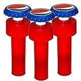Jokari 3 Count Pepsi Modern Logo Fizz Keeper Soda Bottle Pump Cap, Red/White/Blue