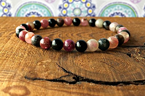 JP_BEADS 6mm Mutli-Colored Tourmaline Stacking Bracelet, Elbaite Yoga Mala Beads, Healing Crystals, Spiritual Gift, Protection