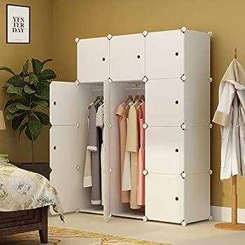 KOUSI Portable Closet Clothes Wardrobe Bedroom Armoire Storage Organizer with Doors, Capacious & Sturdy, White, 6 Cubes&2 Hangers