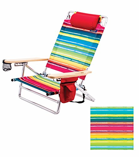 Deluxe Pillow Lay Flat 5 Position Aluminum Chair (Multicolored Stripes) Pkg/1 by RIO Gear
