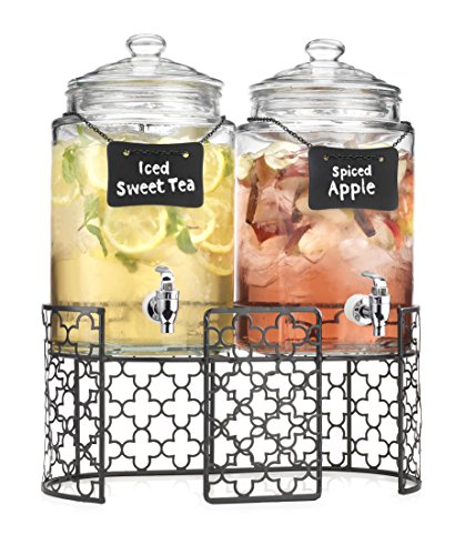 Homephile Two (2) 1 Gallon Each Quality Ice Cold Clear Glass Jug Beverage Dispensers on Metal Display