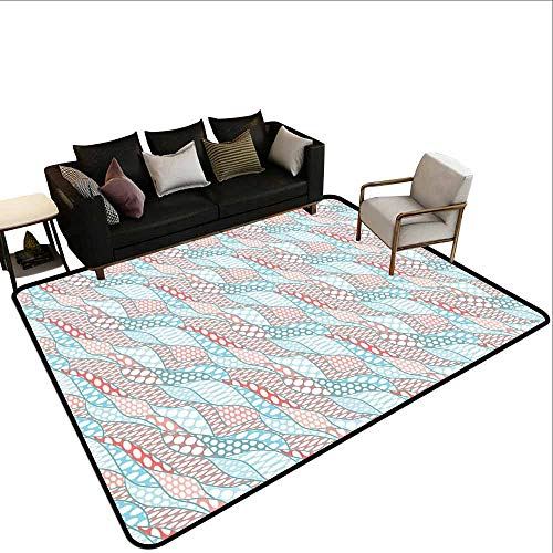 Geometric, Door Mats Area Rug, Wavy Stripes with Large Spots Ovals Leaf Stylish Soft Artwork, Area Rug for Girls Room 6.6x10 Feet Pale Blue Dried Rose Peach
