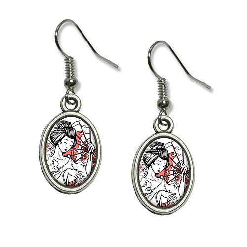 Asian Charm Earrings - Japanese Geisha - Asian Fan Flowers Novelty Dangling Drop Oval Charm Earrings