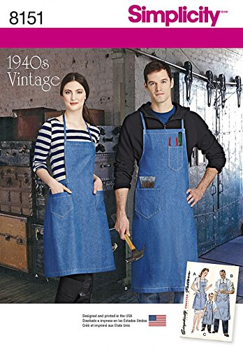 Simplicity Family Easy Sewing Pattern 8151 1940s Vintage Style Aprons