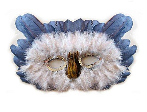 (SACAS Feather Owl Costume Mask Halloween Mardi Gras n)