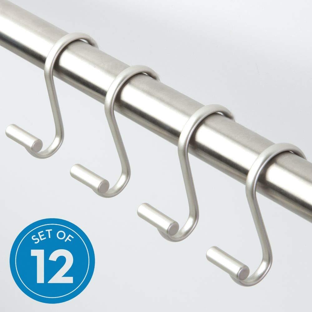 5,1 x 17,1 x 8,9 cm satiniert iDesign 76752EU T-Balken Duschvorhanghaken 12 St/ück