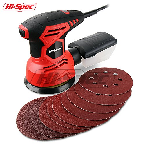 Hi-Spec Heavy Duty 2A Rotating Disc Palm Sander with Dust Collector & 10pc Sanding Pad Kit for Removing Paint, Varnish, Stains, Preparing Furniture, Polishing, Sanding Down & Finishing (Round Sander)