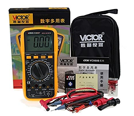 VC9808+ 3 1/2 Digital multimeter Electrical Meter ammeter 20A voltmeter Inductance Frequency teste - - Amazon.com