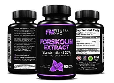 100% Pure Forskolin Extract - Weight Loss Supplement, Promotes Anti-Aging, Boosts Metabolism - 60 Safe and Effective Diet Pills