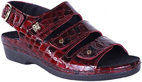 Helle Mode Comfortabele Dames 356 - F3 Velcro Slingback Sandaal Bordeaux