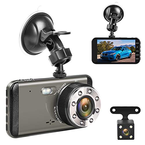 Effort Dual Dash Cam Front and Rear,H3 FHD 1080P Night Vision Car Camera,4 IPS Screen 170 and 140 Wide Angle Lens.Dashboard Cameras with Parking Monitor and Loop Recording