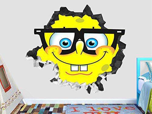 Sponge Bob Glasses Wall Decal Smashed 3D Sticker Vinyl Decor Mural Kids - Broken Wall - 3D Designs - OP530 (Large (Wide 40