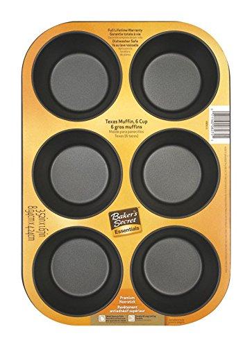 6 Jumbo Muffin Pan - Baker's Secret 1114364 Essentials 6-Cup Texas Muffin Pan