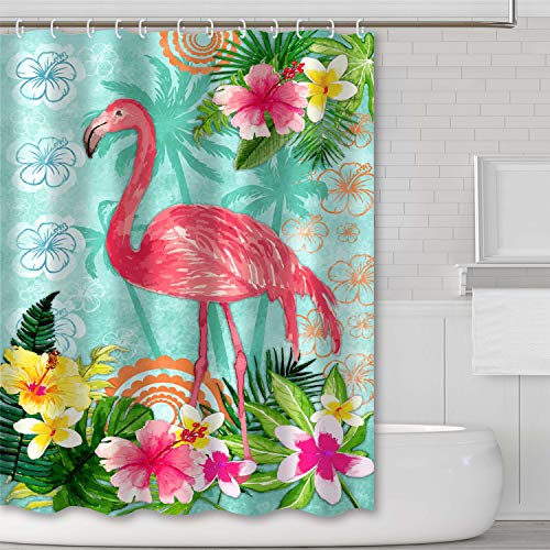 Tititex Flamingo Series Shower Curtain Sets Tropical Flower Floral Bathroom Decoration Shower Curtain 69 X 70 Inch Polyester Waterproof Fabric with Hooks