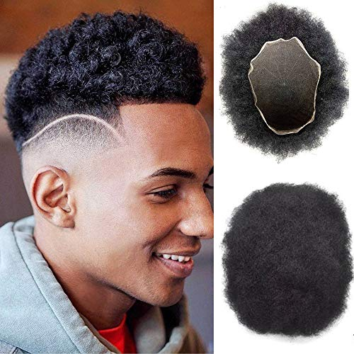 All Swiss Lace Base Mans Toupee Pieces Afro Curly Men Toupee Thin Skin Curly Toupee for Black Men 100% Human Hair Replacement System Prosthesis Wigs 7x9 Color #1B ()