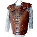 NAUTICALMART Genuine Leather Vest Medieval LARP Armor with Chainmail Shirt Viking SCA Renaissance