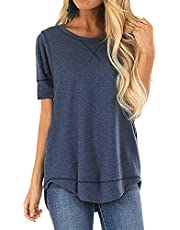 Hisweet Women's Casual Crewneck T-Shirt Solid Color Tops Long Sleeve Tunic Loose Blouses Comfy Sweatshirt