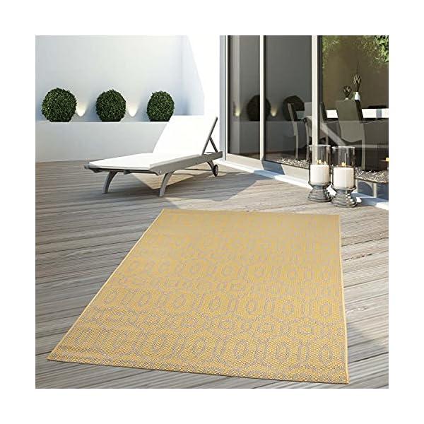 514ESM0Ch4S CC Teppich In-Outdoor Wetterfest Gelb-Beige 60x230cm Oeko-Tex Standard 100% Polypropylen Allergiker geeignet