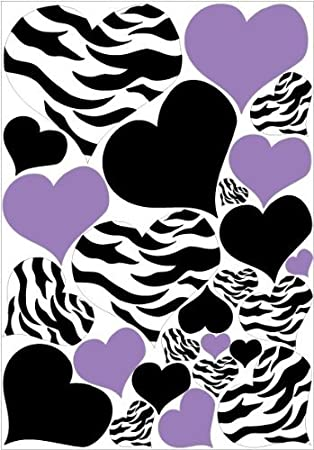 Zebra Print, Black And PURPLE Heart Wall Stickers,decals, Graphics Part 50