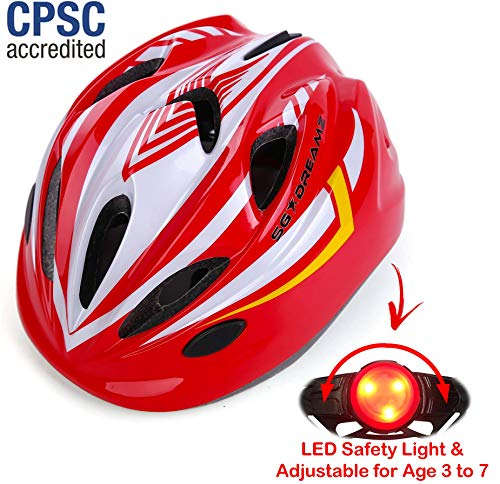 KIDS Helmet - Adjustable from Toddler to Youth Size, Ages 3 To 7 - Durable Kid Bicycle Helmets with Fun Racing Design Boys and Girls will LOVE - CSPC Certified -